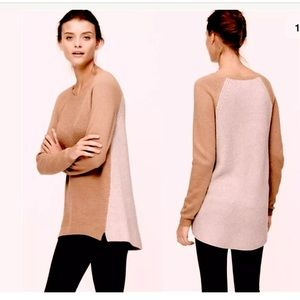 ANN TAYLOR LOFT COLORBLOCK TEXTURAL TUNIC SWEATER